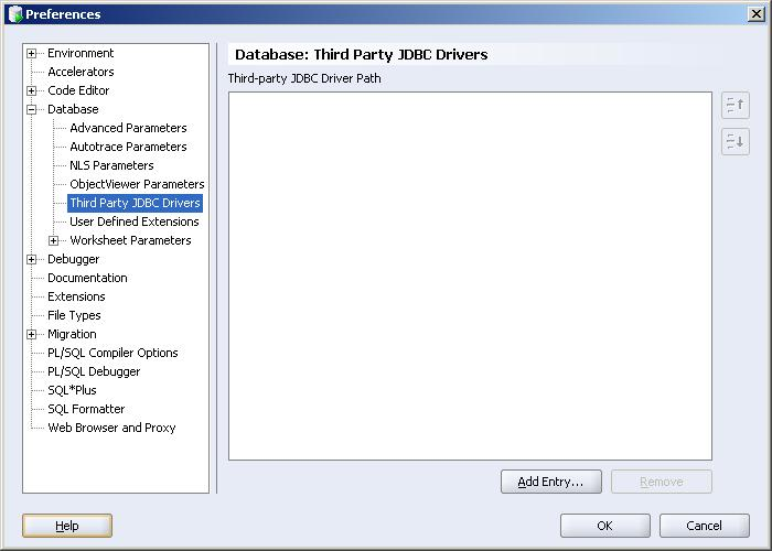 Boîte de dialogue Select Path Entry dans Oracle SQL Developer
